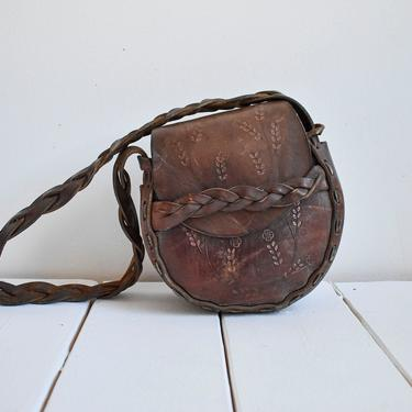 Brown 1970s Embossed Leather Purse by milkandice