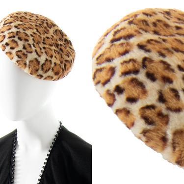 Vintage 1960s Beret | 60s Leopard Print Faux Fur Pill Box Hat (small/medium) by BirthdayLifeVintage