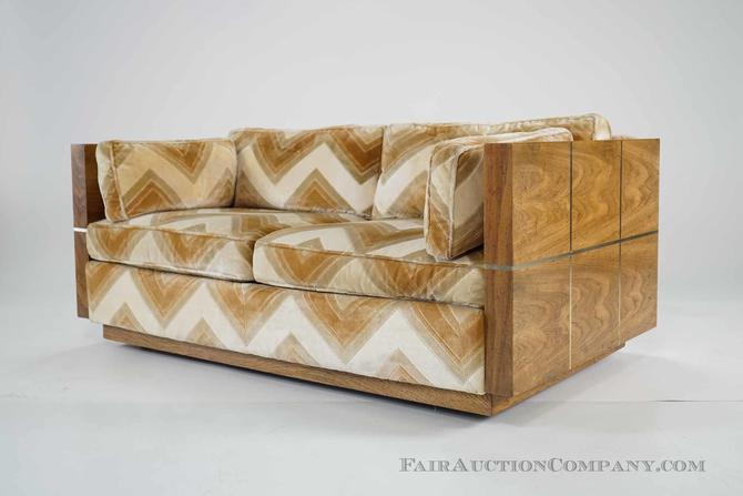 Mid Century Sofa with Brass Inlay