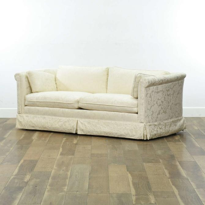 Retro Long Loveseat Sofa W/ Damask Upholstery