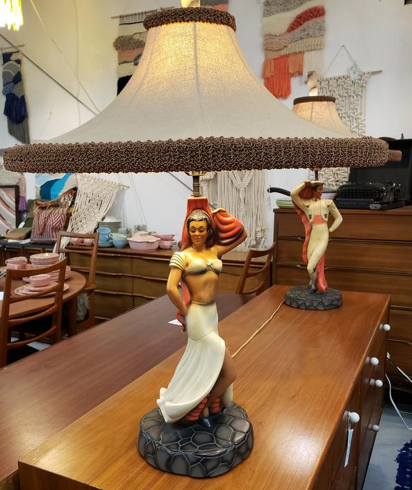 Reglor of California Pair of Mid-century Modern Lamps. Flamenco Dancers.