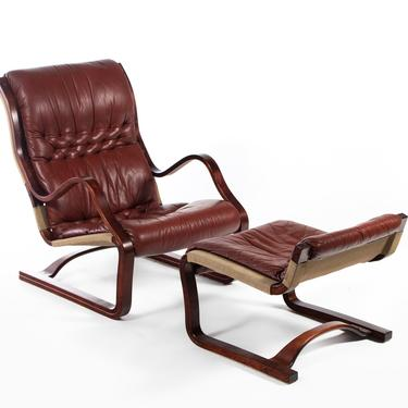 Bentwood Afromosia Chair in Oxblood Red Leather with Matching Ottoman by ABTModern