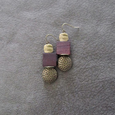 Brown wood, brass animal print earrings, Afrocentric dangle earrings, mid century modern earrings, African earrings, bold statement, unique by Afrocasian