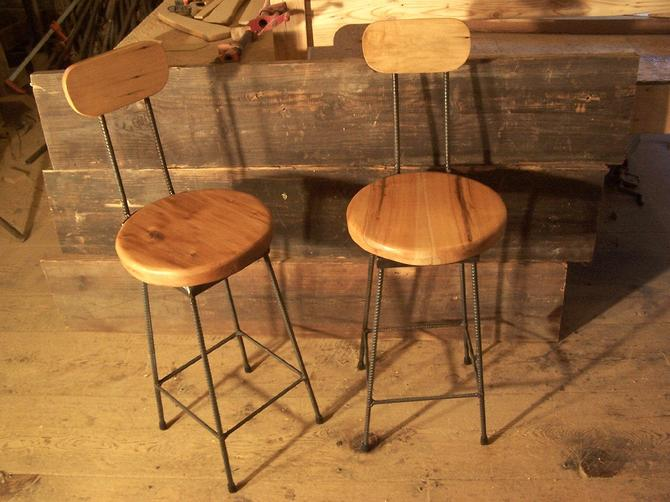 Reclaimed Maple Swivel Bar Stools with Rebar Legs and Back Rest by BarnWoodFurniture