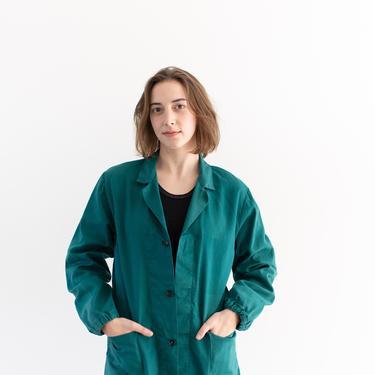 Vintage Emerald Green Chore Coat   Unisex Cotton French Workwear Style Jacket   S M   IT140 by RAWSONSTUDIO