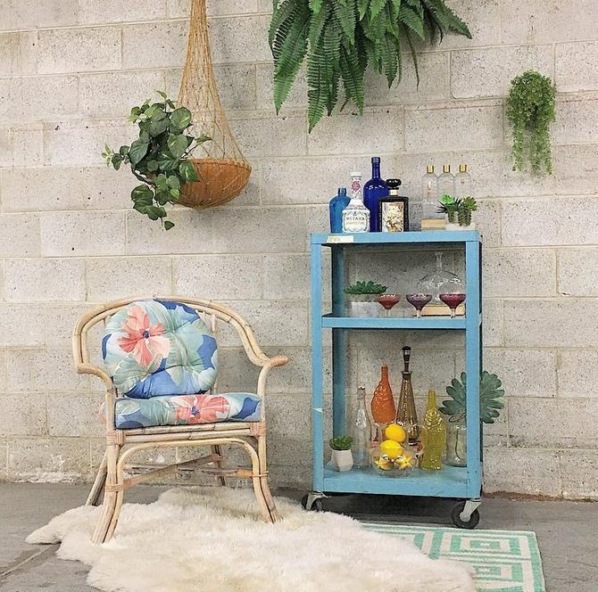 LOCAL PICKUP ONLY Vintage Bar Cart Retro 1960s Bright Baby Blue Metal Rolling Tv + School + Bar Cart + Wheel Locks for Home + Home Bar Decor by RetrospectVintage215