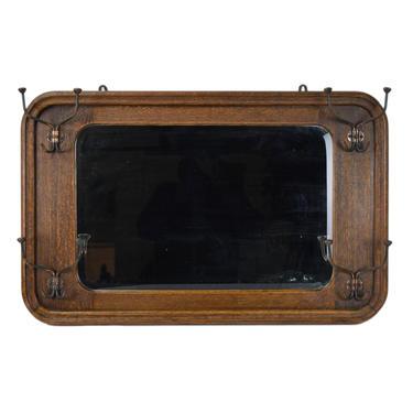 Vintage Mission Arts & Crafts Beveled Edge Wall Mirror with Coat Hooks by PrairielandArt