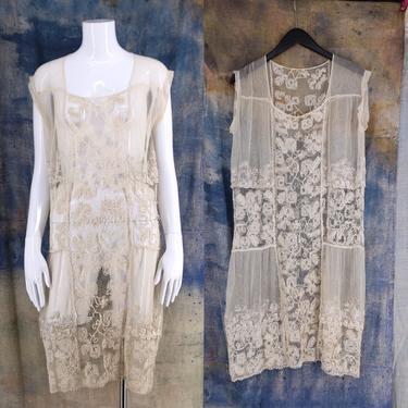 20s white lace flapper dress / vintage 1920s antique crochet lace English netting Deco drop waist dress L by ritualvintage
