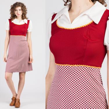 70s Mod Gingham Collared Schoolgirl Mini Dress - Small | Vintage Short Puff Sleeve A Line Babydoll Minidress by FlyingAppleVintage