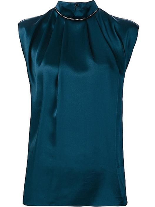 lanvin mock neck silk blouse