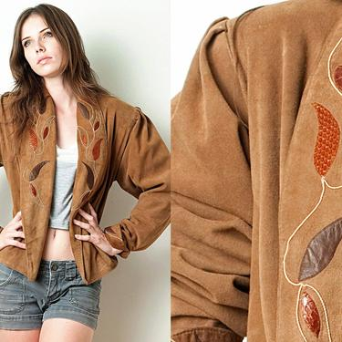 Vintage 80s Brown Ultra Soft Suede Jacket Shoulder Pads Puff Sleeves Snake Skin Applique ONE SIZE S M L Small Medium Large by shoprabbithole