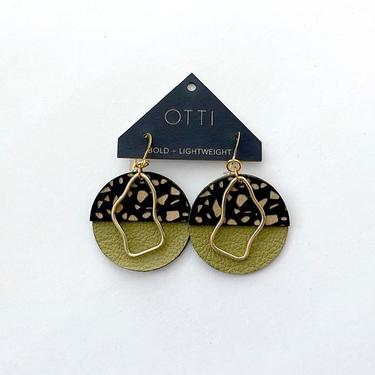 Olive Leather, Wood, and Brass Lightweight Earrings