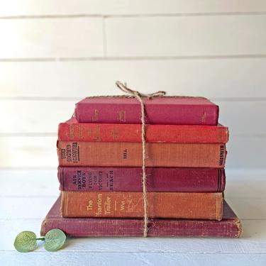 Vintage Bundled Red Books, Set of 6 // Linen Books Antique Book Assortment, Instant Red Shabby Library // Rustic, Farmhouse, Red Book Bundle by CuriouslyCuratedShop