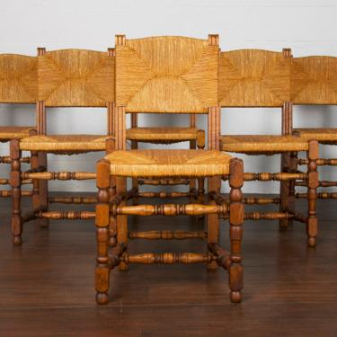 Antique Set of 6 Country French Farmhouse Oak and Rush Dining Chairs by StandOutSpaces