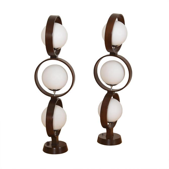 Pair of Large Triple Orb Walnut + Glass Globe Lamps