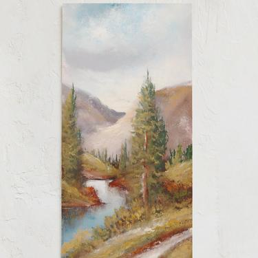 Mountain Wall Art   Vintage Mountain Painting   Landscape Print   Mid Century Art   Gallery Wall Art   Cabin Art    Lake and Trees Art by cedargrey