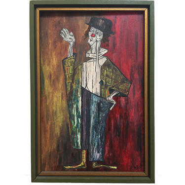 Clown Painting on Canvas Signed by Artist H. Petit