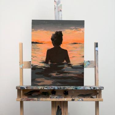 CANVAS wall art . Summer Sunset . ready to hang . gallery stretched . giclee art print by ClareElsaesser