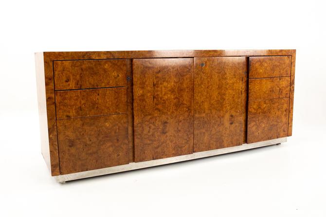 Milo Baughman Style Helikon Mid Century Burlwood Sideboard Credenza - mcm by ModernHill
