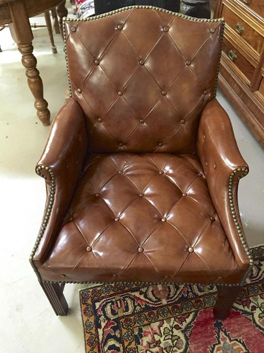 Tufted Leather Club Chair Guest Chair by Kittinger