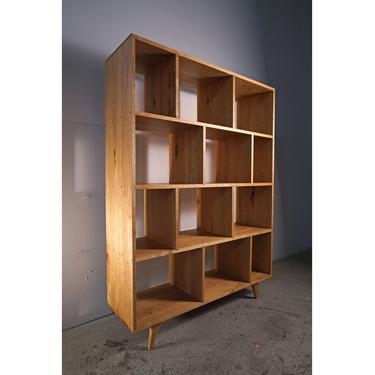 Knodler Vinyl LP Console, Mid-Century Modern Bookcase, Solid Hardwood Record Bookshelf, LP Shelf (Shown in Walnut) by TomfooleryWood