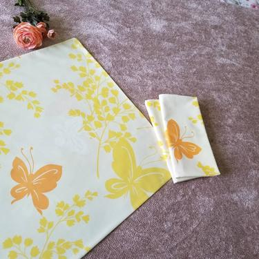 Vintage Yellow Pillow Cases, Set of 3 / 1970s Butterfly Pillowcases / Standard Retro Pillowcases / Orange and Yellow Floral Pillow Covers by SoughtClothier