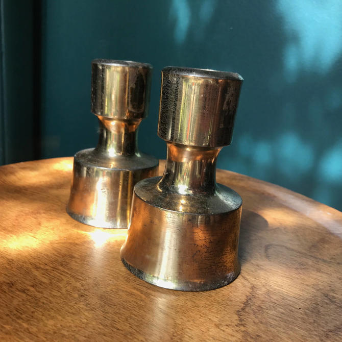 Pair Of Vintage Dansk Brass Pillar Candle Holders By Jens