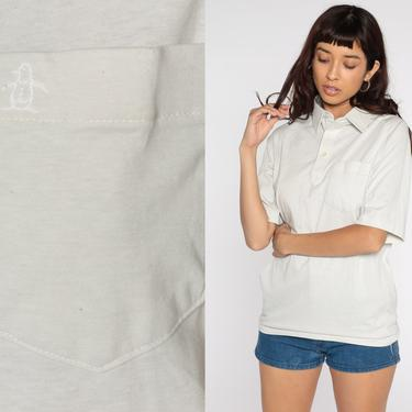 Munsingwear Polo Shirt PENGUIN Shirt 80s Shirt Half Button Up Collared Pocket Grey 70s Short Sleeve Retro Vintage Medium by ShopExile
