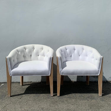 2 Chairs Vintage Barrel Set of Loungers Armchairs Accent Chair Seating Wood Hollywood Regency Mid Century Modern Tufted Living Room by DejaVuDecors