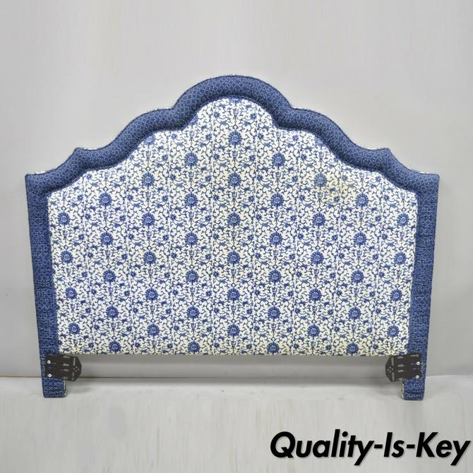 Vintage Blue & White Upholstered French Country Custom Queen Size Bed Headboard