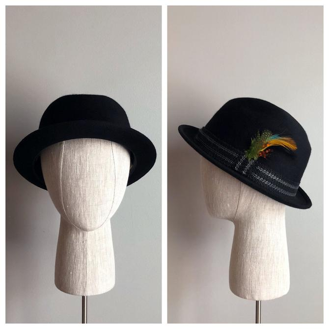 Vintage 50s Black Wool Derby Bowler Hat- NEW OLD STOCK! by VintageChicVa
