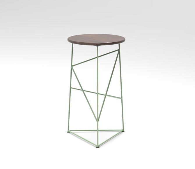 Stool,  Modern Steel Bar Stool in a Sage Green  Finish with Solid Walnut Seat by JumpFurniture