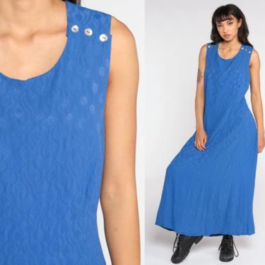 Liz Claiborne Dress 90s Maxi Dress Blue Dress Embossed Jumper Dress Sleeveless Dress Vintage 1990s Bohemian Retro Sheath Criss Cross Medium by ShopExile