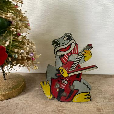 Antique Tin Litho Frog Playing Cello Clicker Noisemaker, Cello Bow Moves When Clicked,  Frog Clicker, Antique Toys, Noisemaker, Japan by luckduck