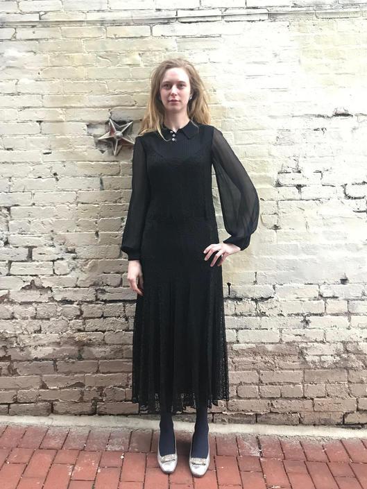 03c923c1941 Vintage 1930s Deco Flapper Black Lace Chiffon Sheer Dress Rhinestone ...