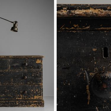 Painted Chest of Drawers and Industrial Wall Lamp