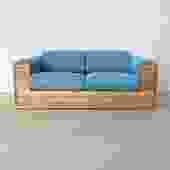 1970s Oak Case Sofa in Blue Wool