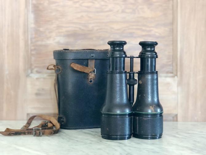 Antique Leather WW1 Era Field Binoculars by AnticaMarket