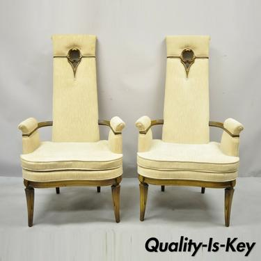 Vintage Tall Back Italian French Hollywood Regency Lounge Arm Chairs - a Pair