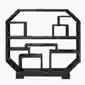 Chinese Distressed Black Octagon Bookcase Display Cabinet Room Divider cs4938S