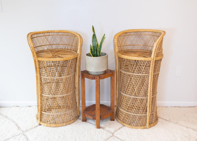 Set of 2 - Tall Bar Stool Rattan Wicker Woven Vintage Bohemian Peacock Chairs (Sold as a Pair) by PortlandRevibe