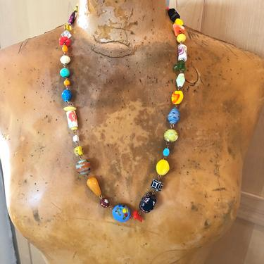 Colorful Vintage Bead Necklace- Beaded Jewelry- Unique Gifts for Women by LoveItShop