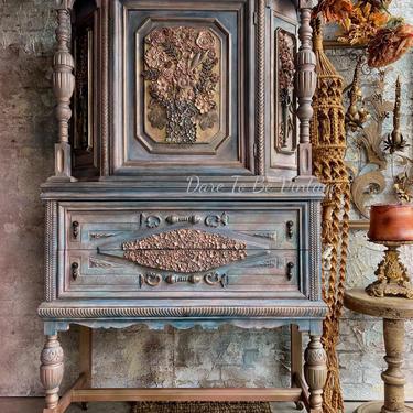 Painted Ethnic Bohemian Armoire Wardrobe Cabinet - Vintage Rustic Wardrobe Cabinet - Painted Dresser - Wardrobe - Painted Furniture by DareToBeVintage