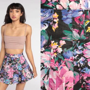 Floral Tennis Skirt 80s Mini Skirt Pleated Skirt High Waisted Gathered Flared Skater Black Pink Purple 1990s Vintage Hippie Extra Small xs by ShopExile