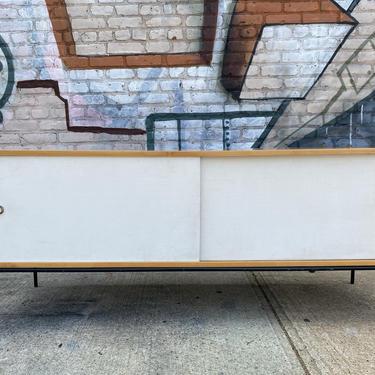 "Paul mccobb mid century modern blonde finish credenza sideboard dresser maple white cloth doors iron legs 60"" by symmetrymodern"