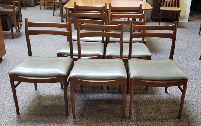 Item #T27 Set of Eight (or four) Mid Century Teak Dining Chairs c.1960s