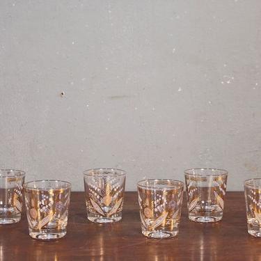 Set of 6 Gold Floral Glasses