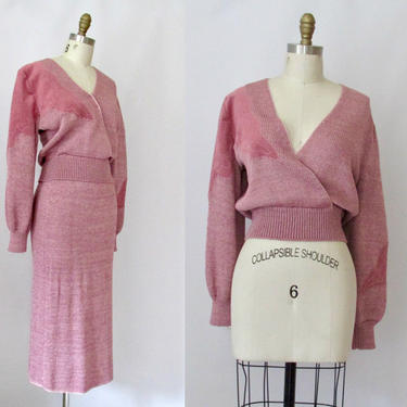 LILLI ANN Adolph Schuman Vintage 80s Dress Set | 1980s Knit Sweater Blouse Top & Midi Skirt w/ Suede Trim | 70s 1970s 2 Piece | Size Medium by lovestreetsf