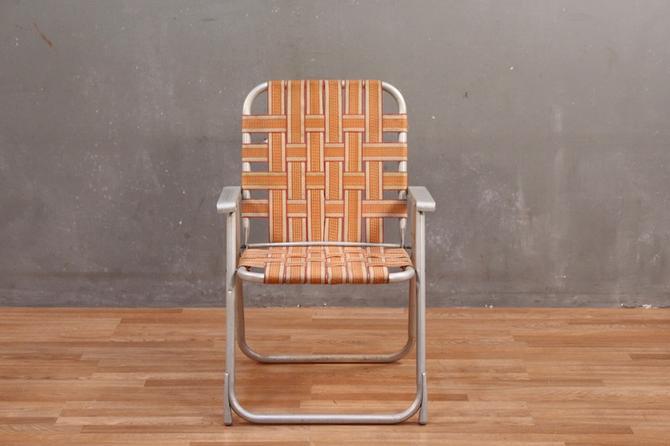 Retro Orange Woven Straps Folding Lawn Chair