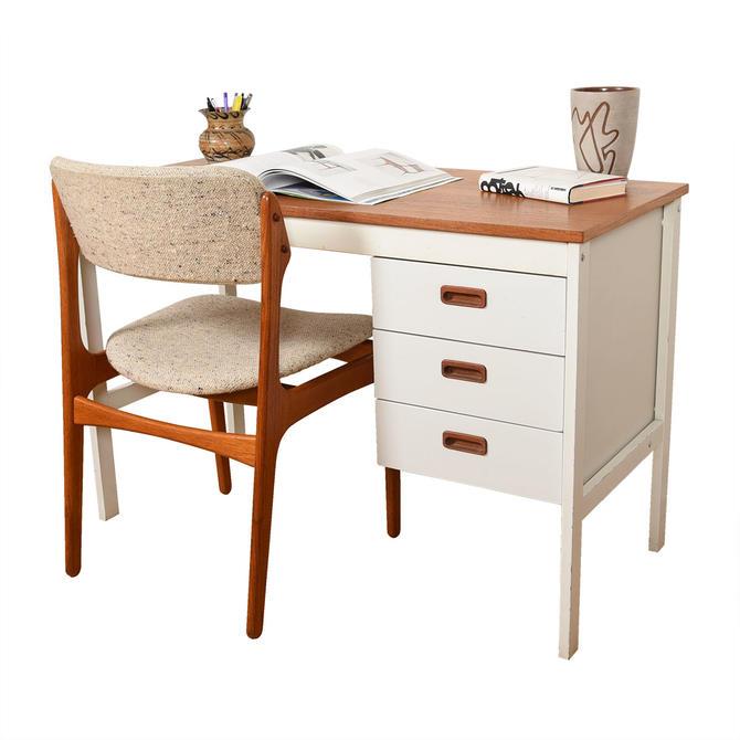 Apartment Sized Danish Modern Teak & White Desk
